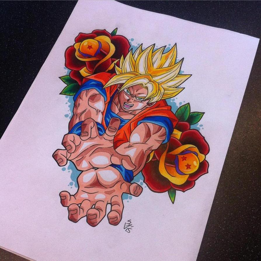 Goku Tattoo Design by Hamdoggz