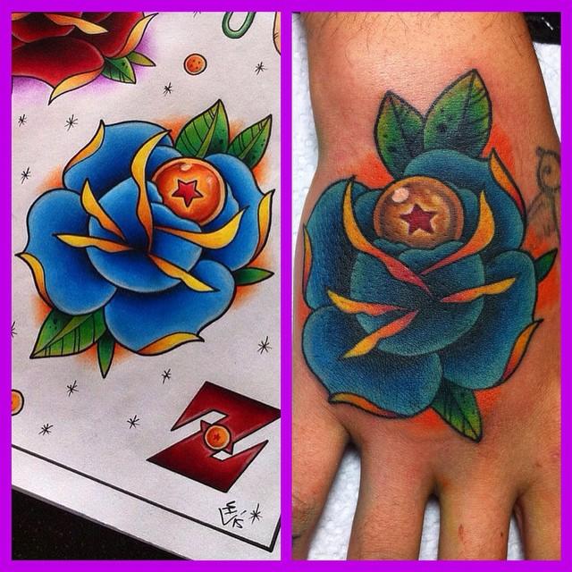 Dragon Ball in Rose Tattoo by Hamdoggz