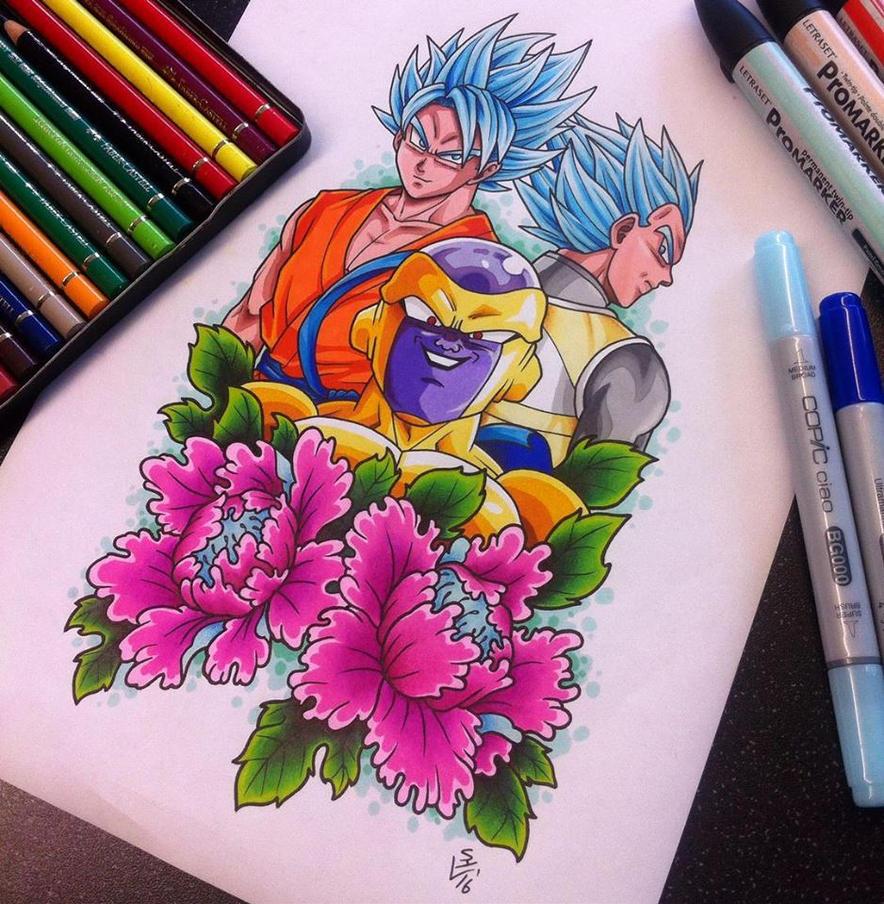 DBZ resurrection 'F' Tattoo Design by Hamdoggz