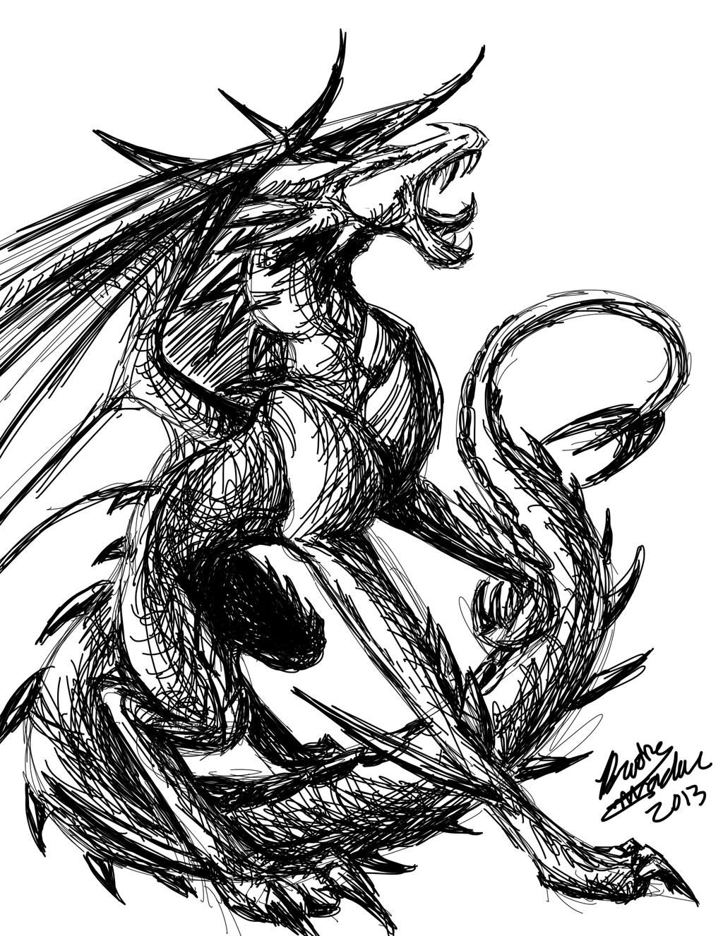 dragon images black and white