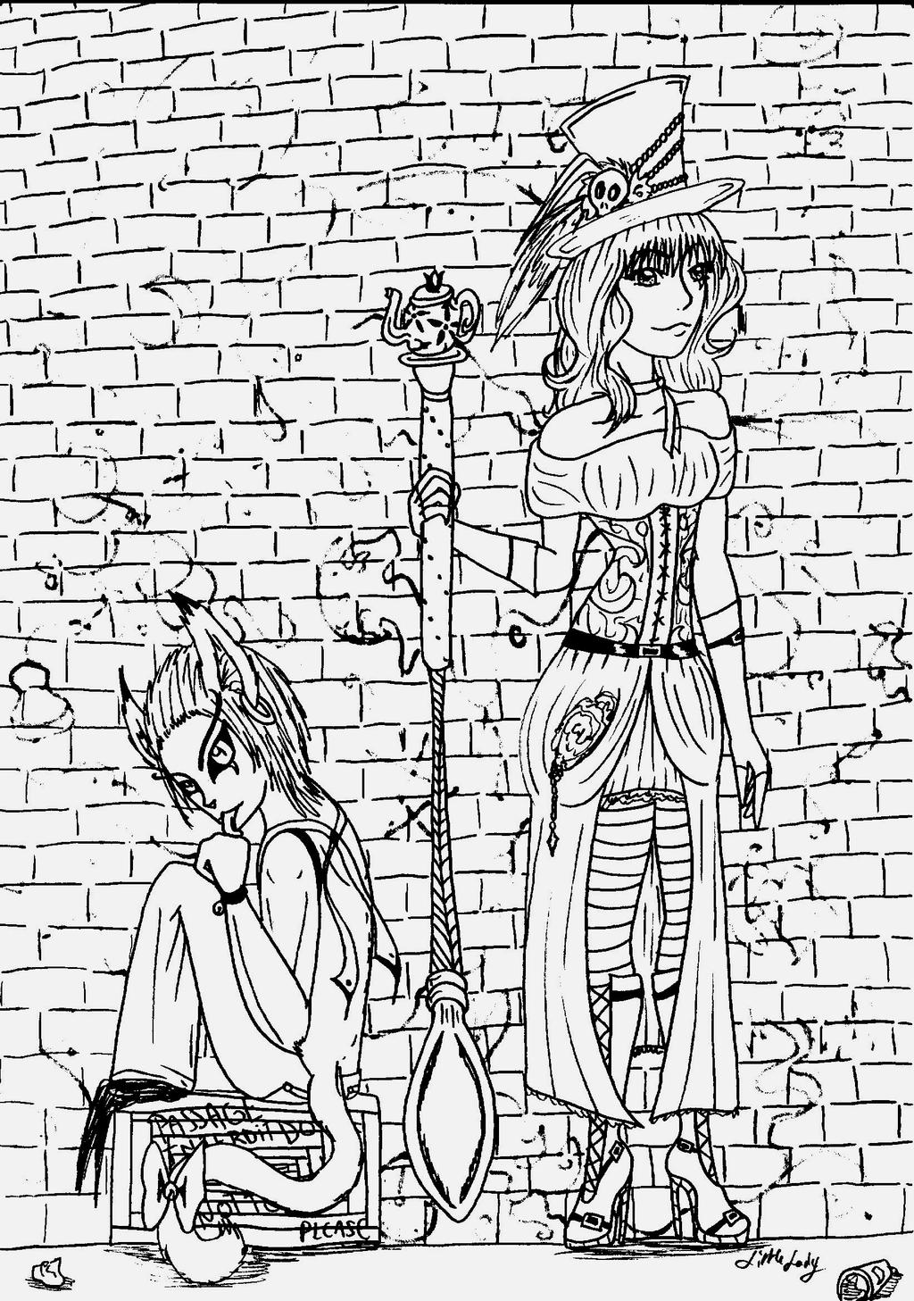 Alice Liddell and Cheschire Cat by ALittleLady