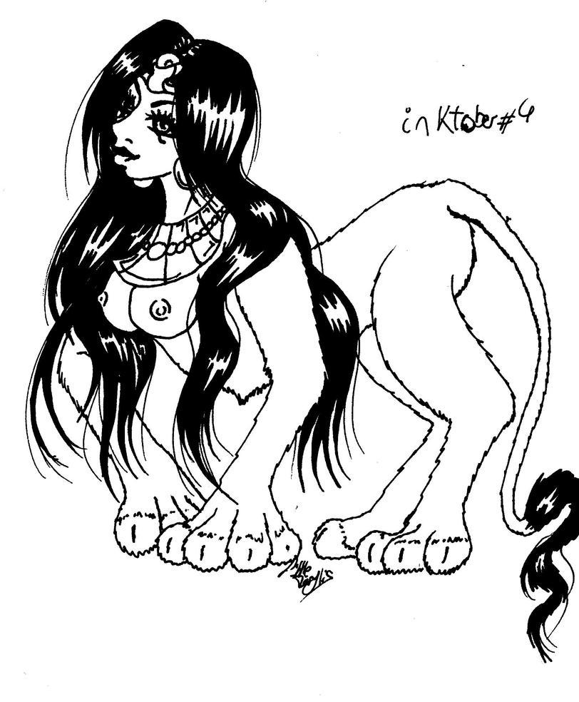 Inktober #4 - Sphinx by ALittleLady