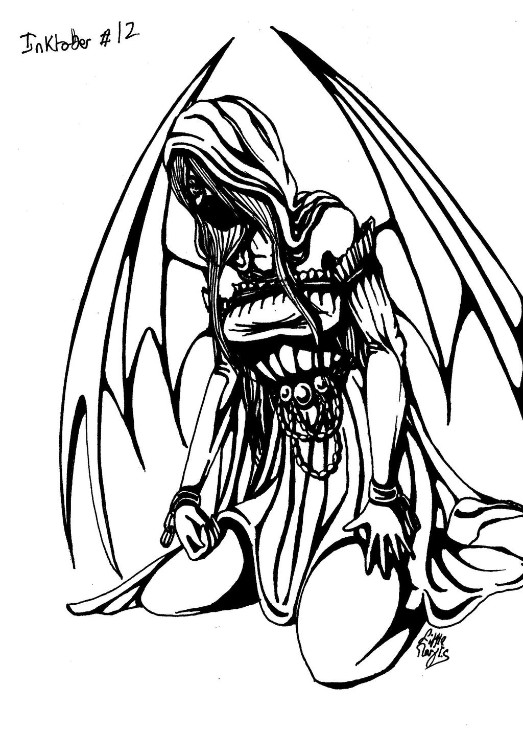 Inktober #12 - Angel's Hades by ALittleLady