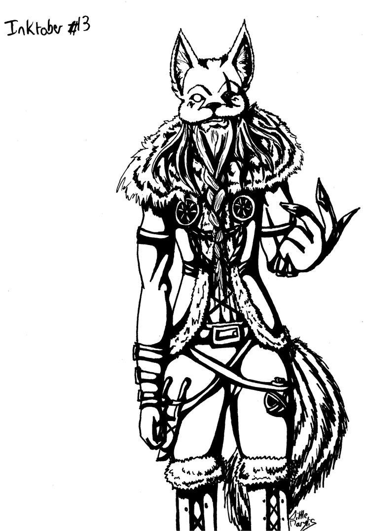 Inktober #13 - Angel's Odin (Evil Side) by ALittleLady