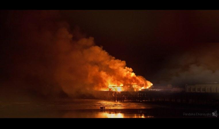 Hastings Pier on Fire by panduka56
