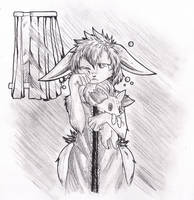 Inktober 2016: Day 25 -Tired Eevee Lass- by Thwill
