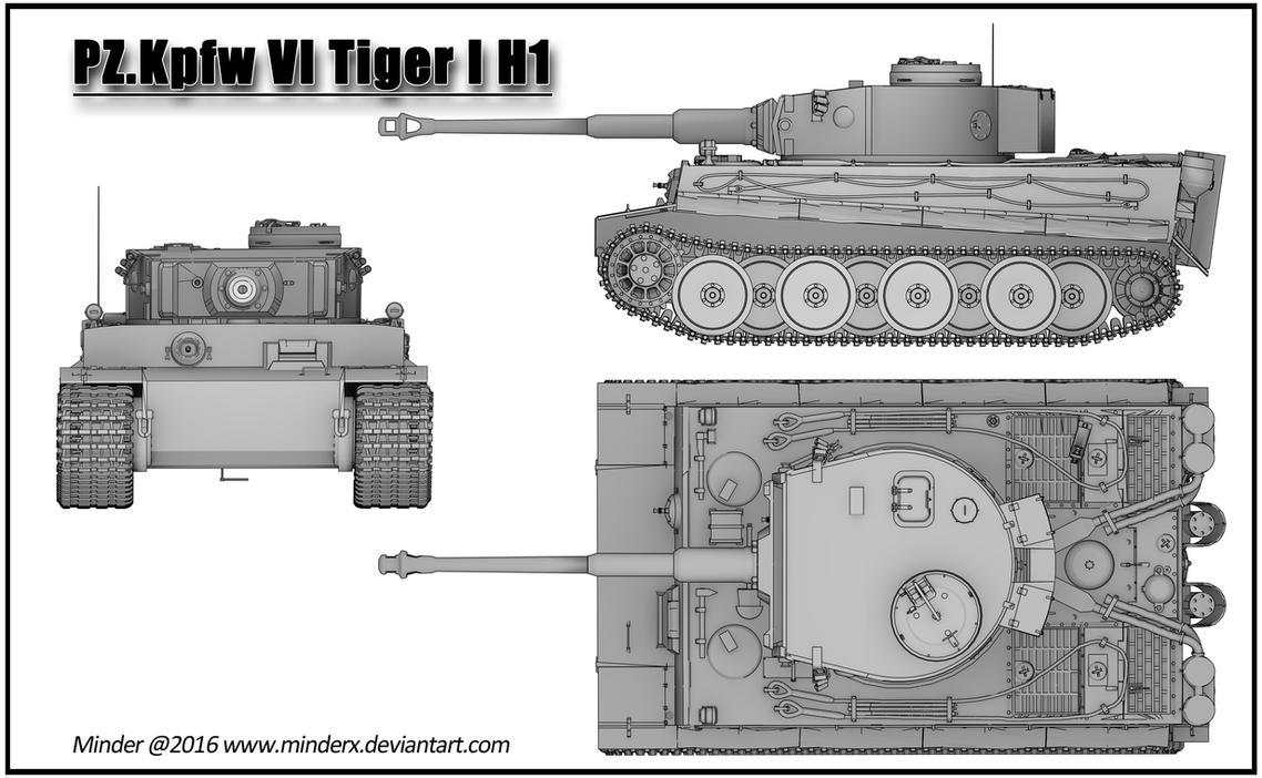 Pk. Kpfw VI Tiger I H1 render Blueprint by MinderX on DeviantArt