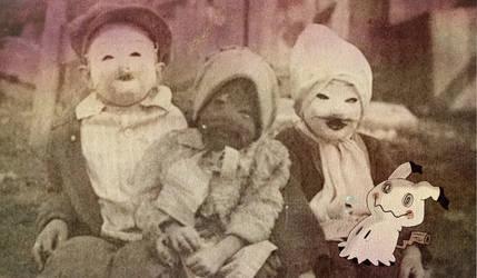 Three children and their Mimikyu, circa 1920 by DeadpoolHasRabies