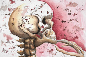Thoughtful skeleton watercolor. by SulaimanDoodle