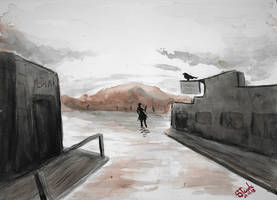 Ghost town watercolor by SulaimanDoodle