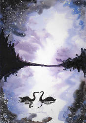 Swans kissing under starlight by SulaimanDoodle