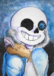 Sans watercolor painting by SulaimanDoodle