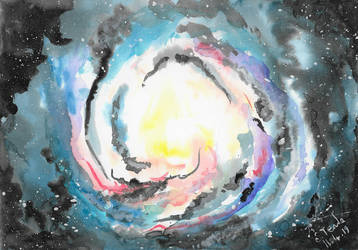 Spiral galaxy watercolor by SulaimanDoodle
