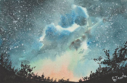 Starry sky on cotton watercolor paper