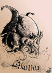 August 2020 Cthulhu ink drawing