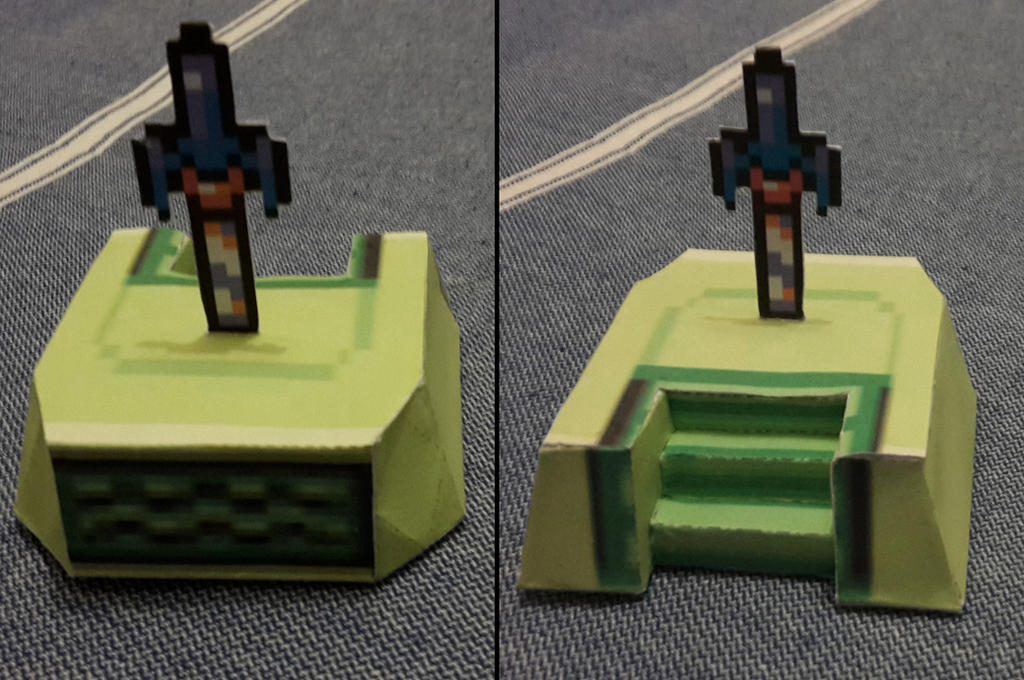 ALttP Master Sword With Pedestal Papercraft By Hiei1983