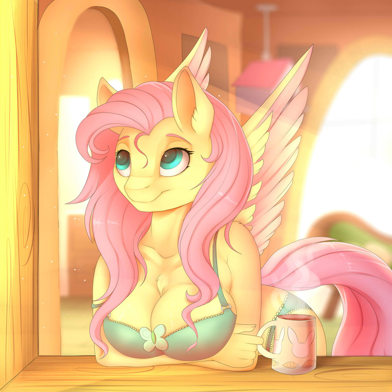 Good Morning Fluttershy (Redraw)