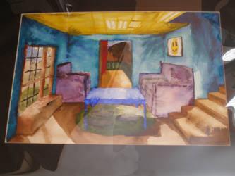 Watercolor basement interior by pescare