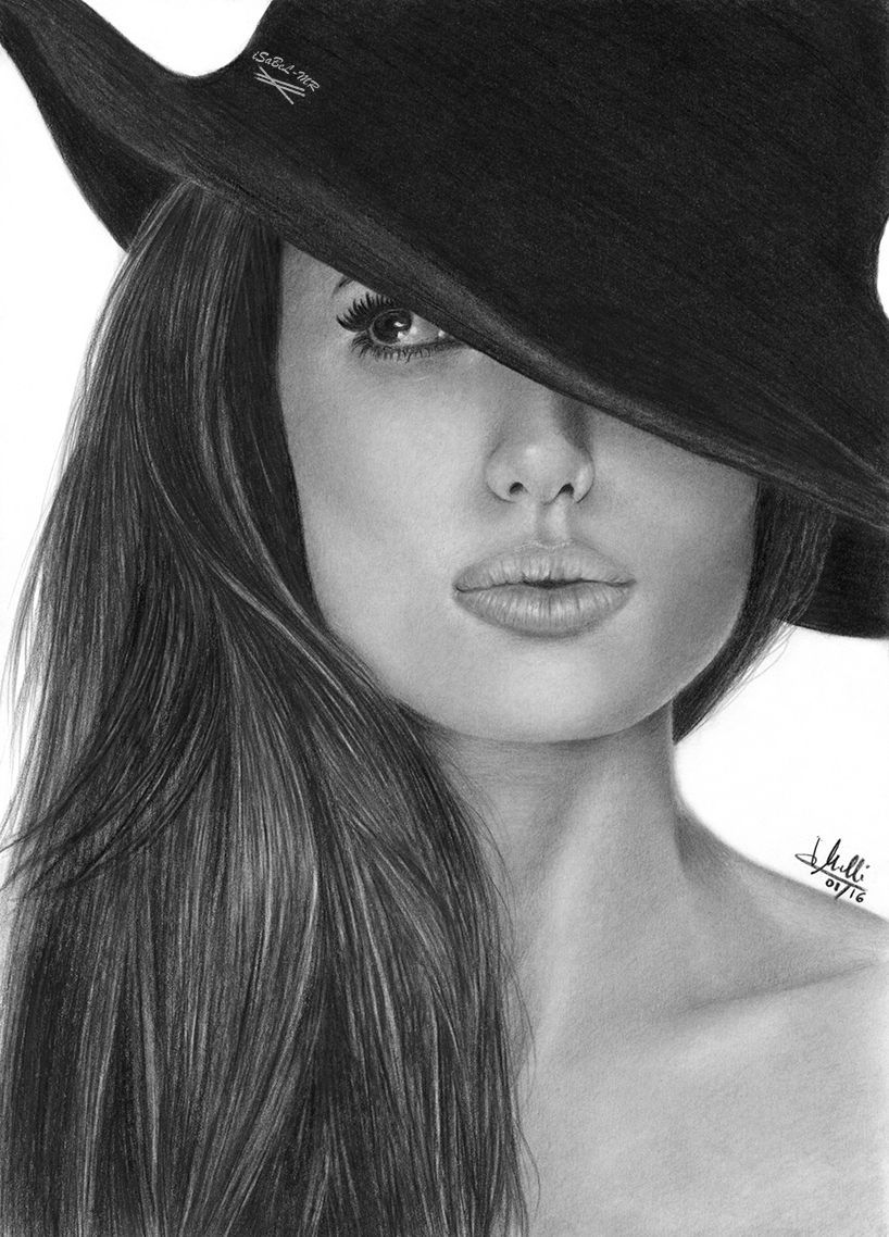 Pencil Drawing Angelina Jolie By Isabelmr