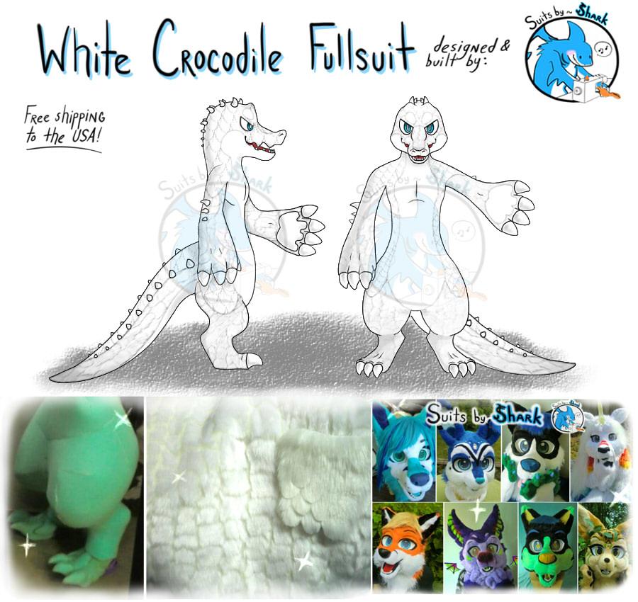 White Crocodile Full Fursuit - For Sale! by TwerkOnThatShark