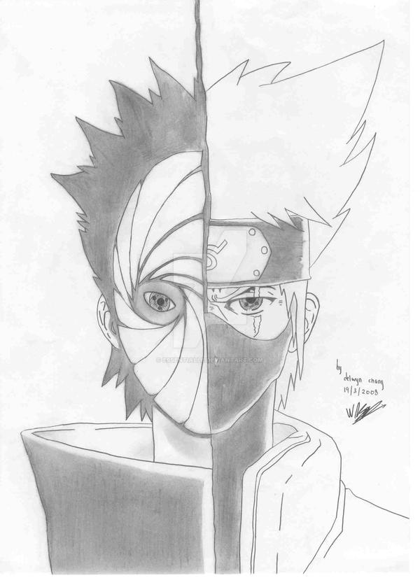 tobi and kakashi drawing by essentialle
