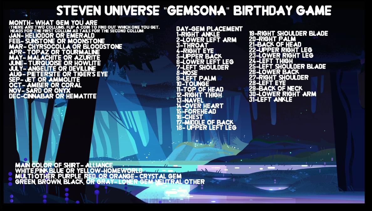Steven Universe ''Gemsona'' Birthday Game by EliteUnicorns