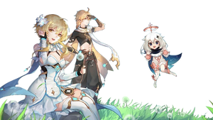 Aether, Lumine, and Paimon - Cutout