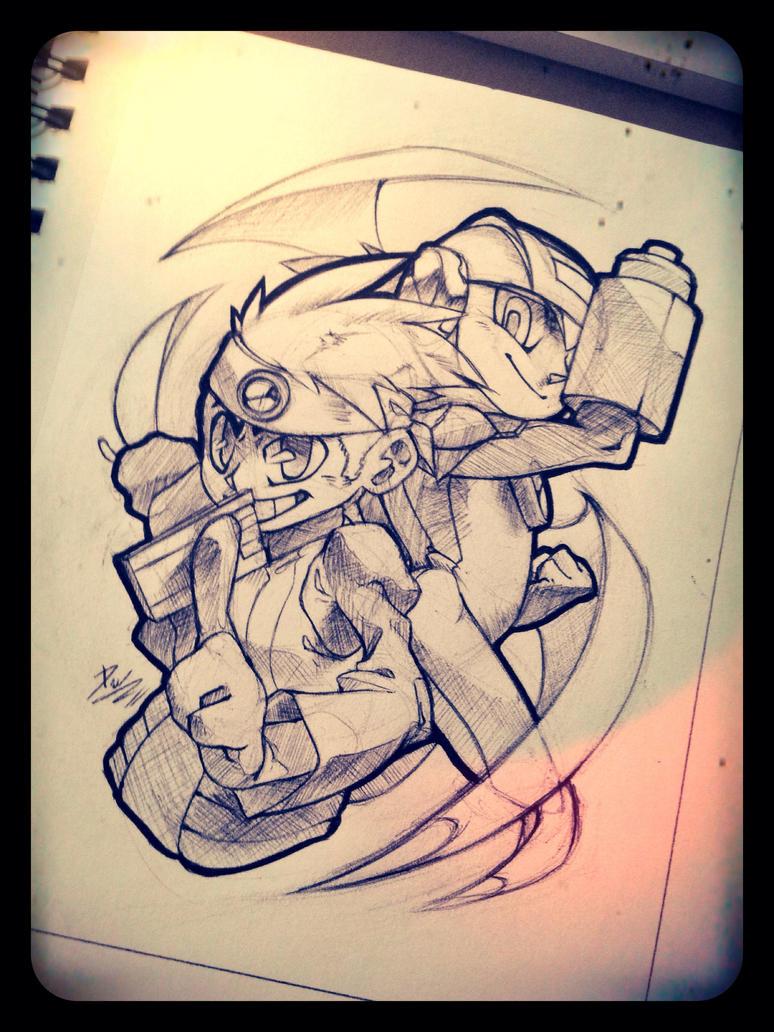 Pen Sketch: Lan and Hub by DroseAttack