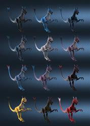 Raptor color variants by SchneeKatze09