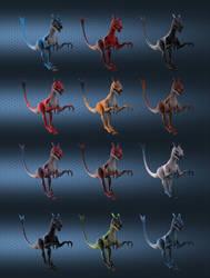 Raptor color variants 2 by SchneeKatze09