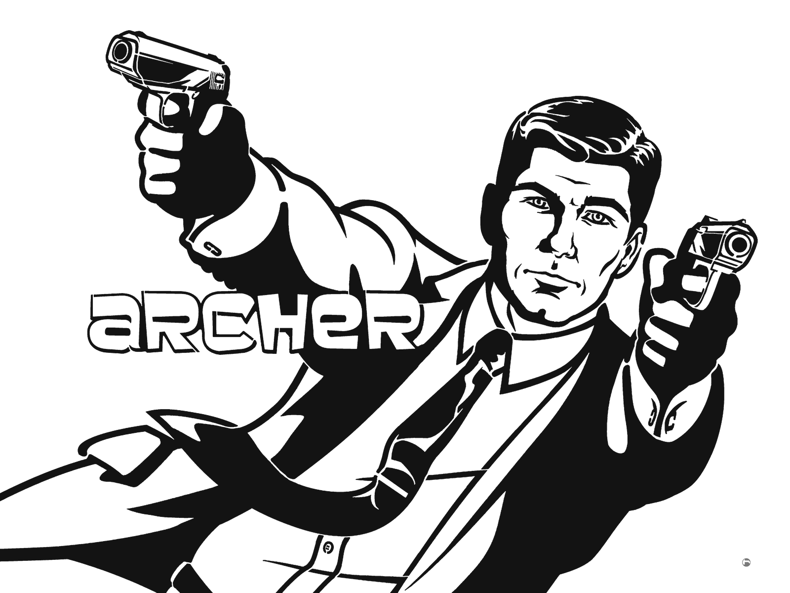 Sterling Archer plain white stencil by heinpold
