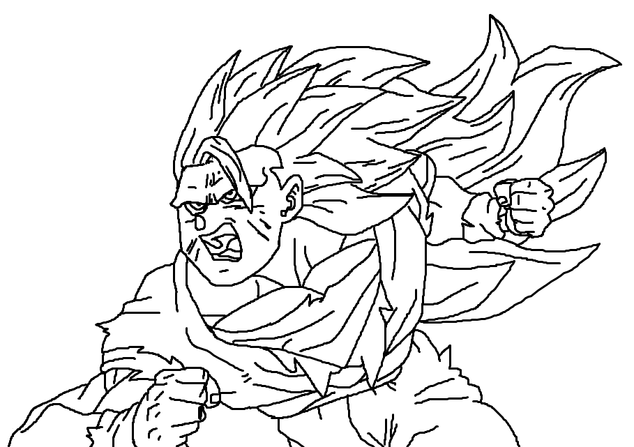 Super Saiyan 3 Goku Coloring Pages