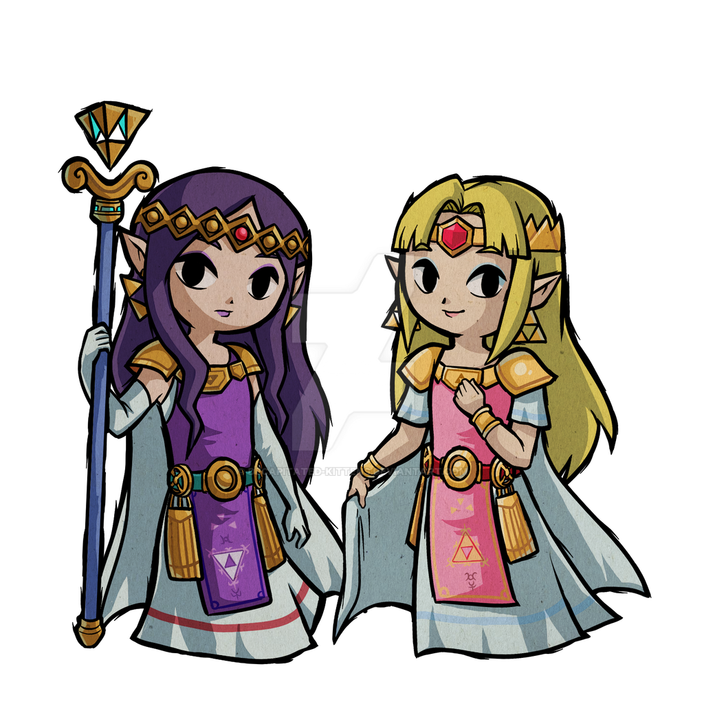 Hilda and Zelda Wind Waker: A Link Between Worlds by Decapitated-Kittens