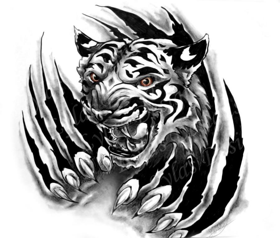 Lion Ripping Through Skin Tattoo Designs