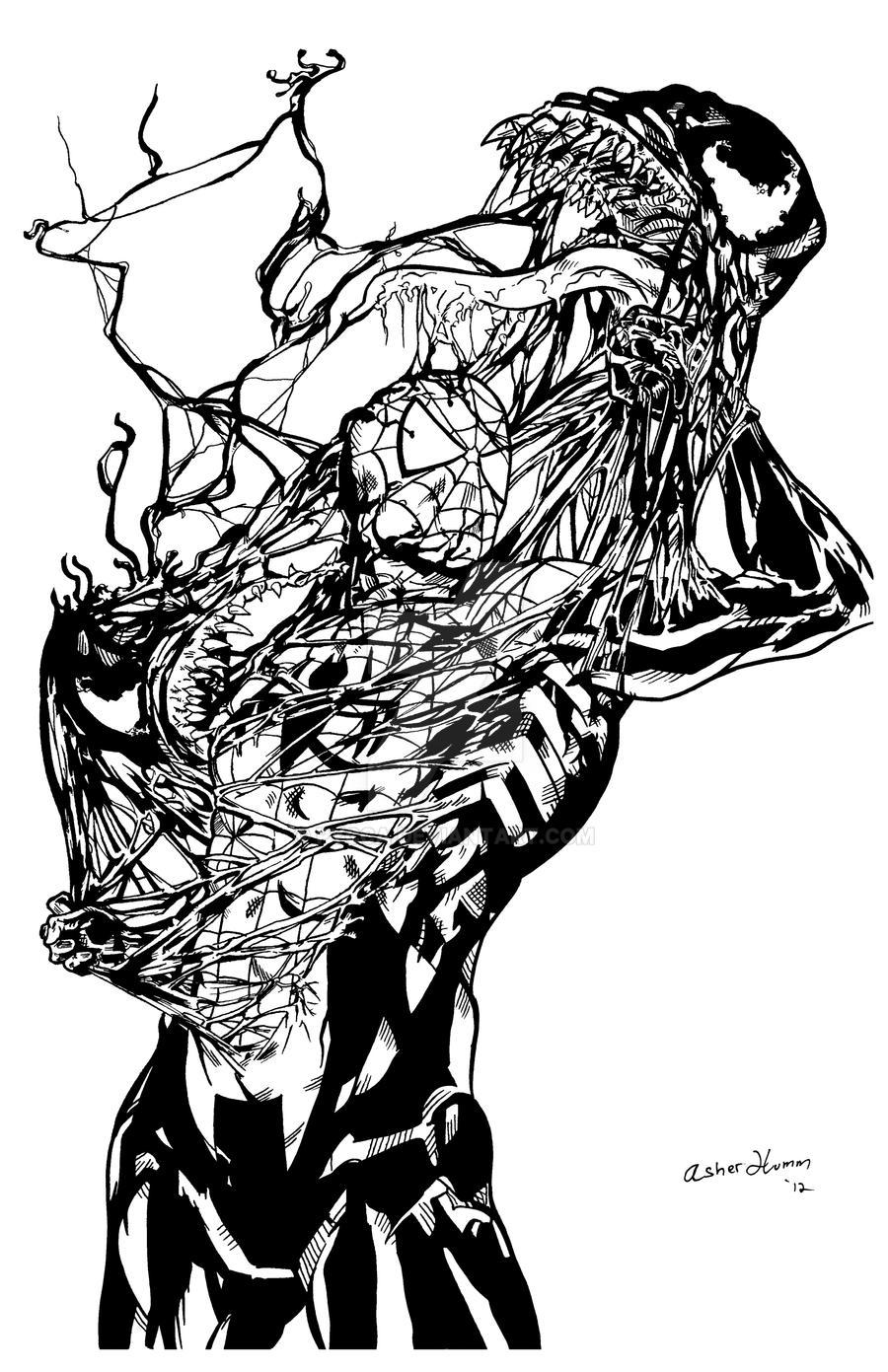 Spiderman vs Venom by pycca on