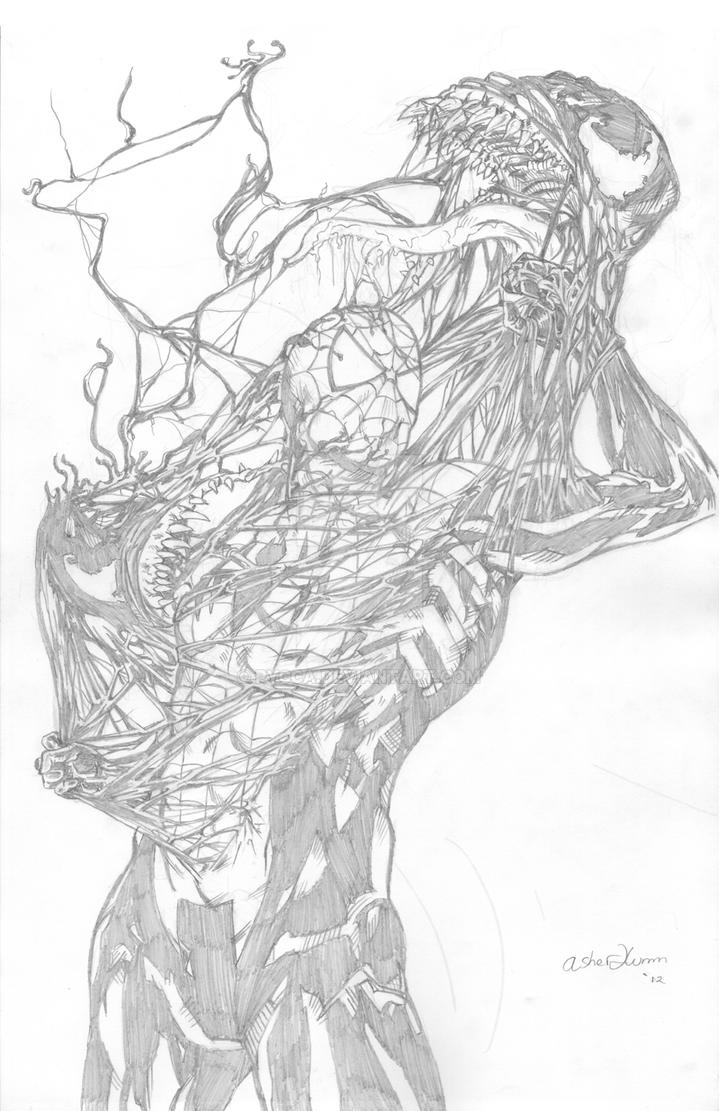 Venom Spiderman Drawing Spiderman vs. V...