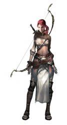 Female Elven Archer by Vynthallas