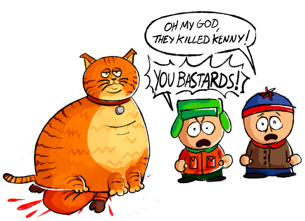 Fat cat kills Kenny by FancyPancakes