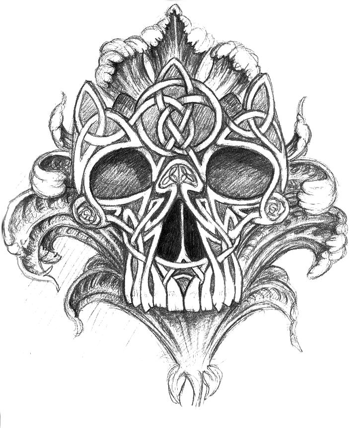 Celtic skull by manicshadow on deviantart for Celtic skull tattoo