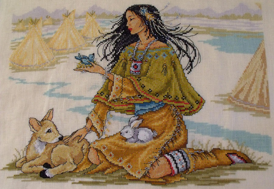 Indian Girl Cross Stitch by Tishounette