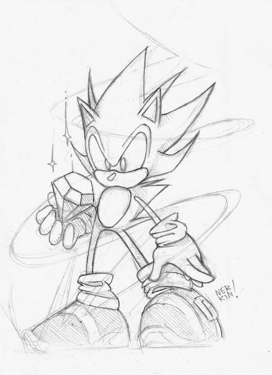 super sonic sketch by nerkin on deviantart