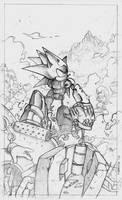 Mecha Sonic Sketch by Nerkin