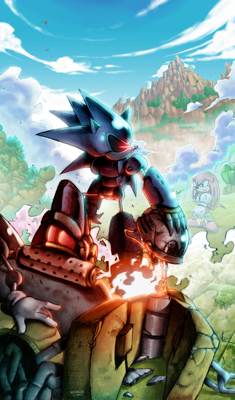 Mecha sonic vs knuckles by nerkin on deviantart - Jeux de sonic vs shadow ...