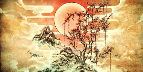 Japanese landscape by Nerkin
