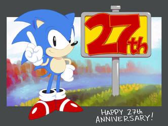 Sonic 27th Anniversary by Nerkin