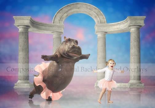 Hippo Ballerina - Digital Backdrop Background