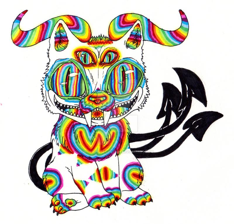 Psychedelic Demon Cat By HorrificSensation On DeviantArt