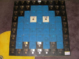 Pac-Man Ghost made of old floppy disks