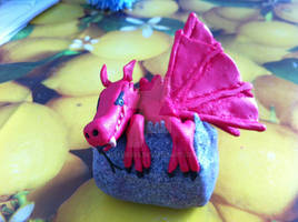 Fimo Welsh baby dragon emerging from an egg