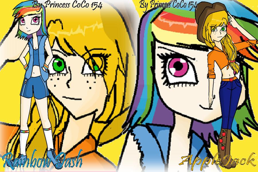 Human Applejack And Rainbow Dash Applejack And Rainbow Dash as